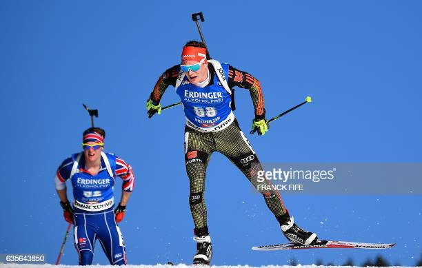 German's Benedikt Doll during the Men 20 km Individual event at the FIS Biathlon World Championships in Hochfilzen on February 16 2017 / AFP / FRANCK...