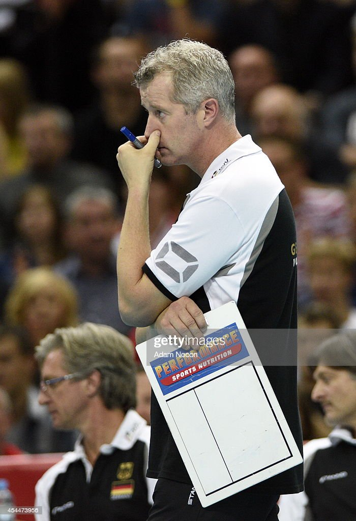 German's coach Vital Heynen reacts during the FIVB World Championships match between Brazil and Germany on September 1, 2014 in Katowice, Poland.