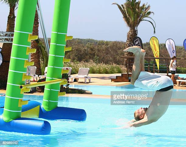 German's KayakDouble Olympic gold medal winner Martin Hollstein flips over in the pool during the Champion of the Year 2008 Award at Robinson Club...