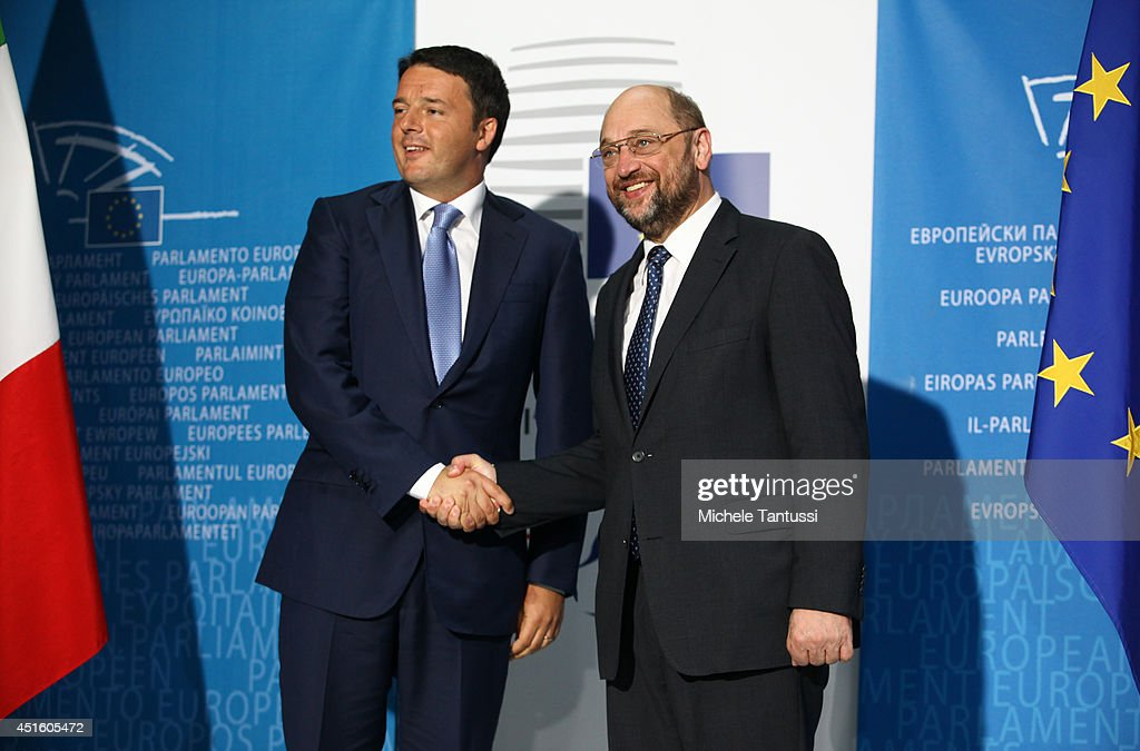German's President of the European Parliament <a gi-track='captionPersonalityLinkClicked' href=/galleries/search?phrase=Martin+Schulz&family=editorial&specificpeople=598638 ng-click='$event.stopPropagation()'>Martin Schulz</a> (R) welcomes Italian Prime Minister <a gi-track='captionPersonalityLinkClicked' href=/galleries/search?phrase=Matteo+Renzi&family=editorial&specificpeople=6689301 ng-click='$event.stopPropagation()'>Matteo Renzi</a> in the European Parliament ahead of the beginning of the six-month Italian presidency of the European council on July 2, 2014 in Strasbourg, France. The European parliament convened yesterday for the first time since the European elections which saw a surge in non-affiliated Eurosceptic MEP's. The German Socialist Schulz will serve a second term as president of the European Parliament even though the European People's Party (EPP) won the most seats in the European Union assembly.