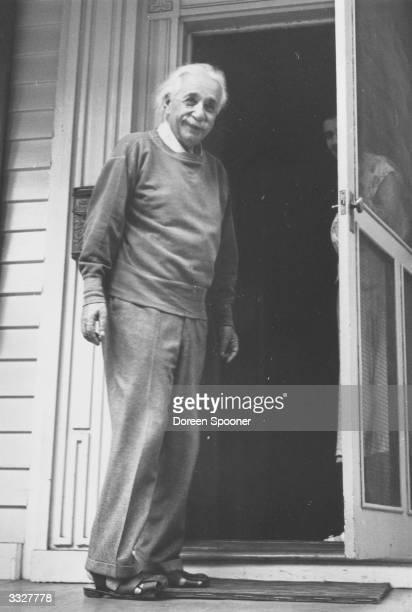 GermanSwissAmerican mathematical atomic physicist and Nobel prizewinner Albert Einstein at home in Princeton USA
