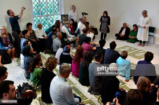 GermanTurkish lawyer author and activist Seyran Ates delivers a sermon during an inaugural friday payer at the Ibn RushdGoethemosque in Berlin on...
