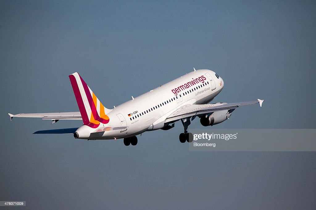 A Germanwings aircraft, a low-cost subsidiary of Deutsche Lufthansa AG, takes off from Tegel airport, operated by Flughafen Berlin Brandenburg GmbH, in Berlin, Germany, on Wednesday, March 12, 2014. Berlin's Tegel airport has subsisted by chance alone, defying the odds as passenger growth outpaces every other major hub in Western Europe. Photographer: Krisztian Bocsi/Bloomberg via Getty Images
