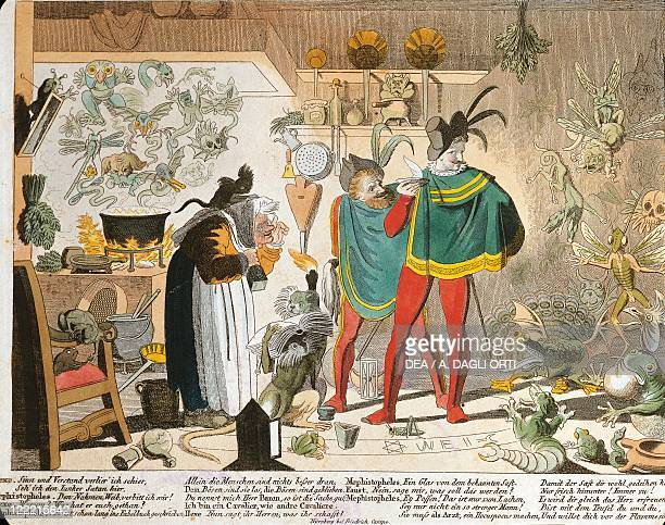 Germany 19th century Illustration representing Mephistopheles in a scene from Goethe's Faust