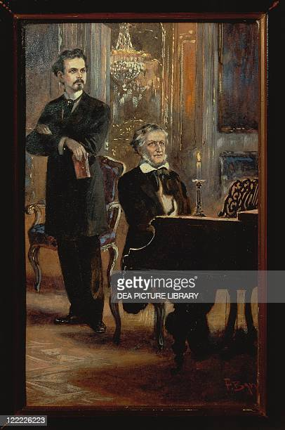 Germany 19th century Louis II of Bavaria and Richard Wagner in Hohenschwangau in a painting by Fritz Berger 1857