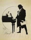 Germany 19th century Ludwig van Beethoven at the piano Silhouette by Schlipmann