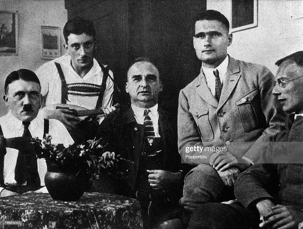 1924 Germany A picture of Adolf Hitler the German facist dictator seen here in prison at Landsberg with LR Maurice Kriebel Hess and Dr Weber