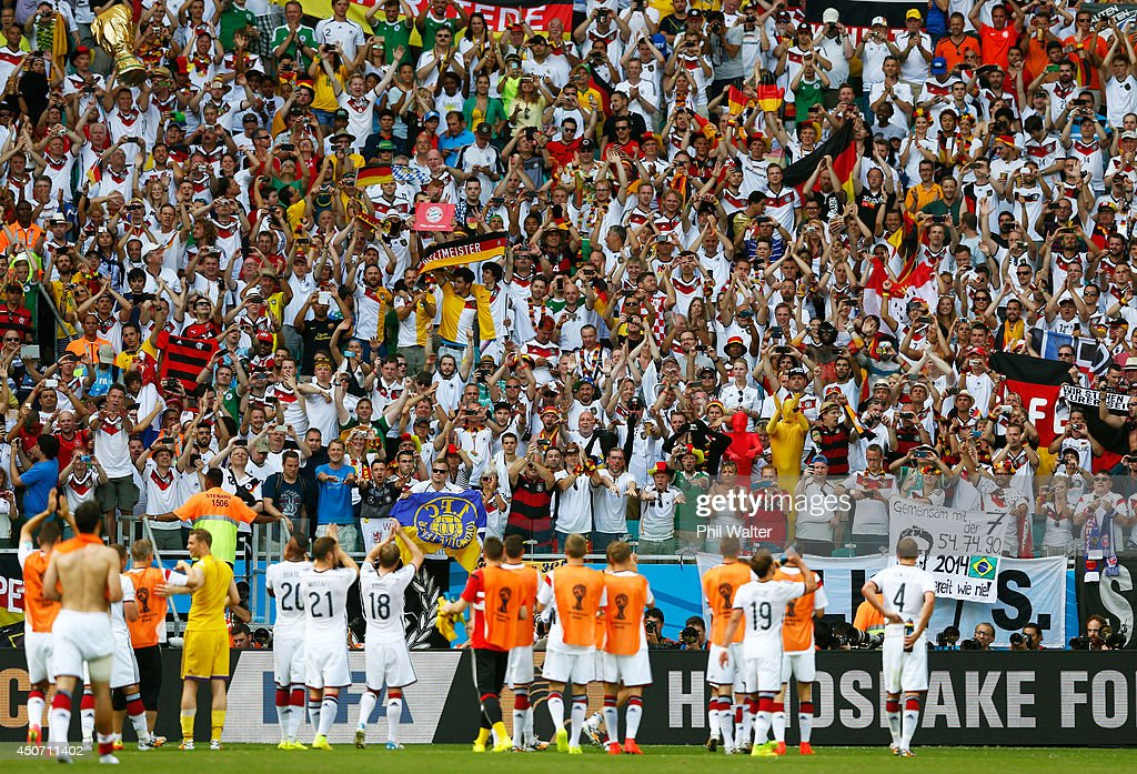 Germany acknowledge the fans after defeating Portugal 4-0 during the 2014 FIFA World Cup Brazil Group G match between Germany and Portugal at Arena Fonte Nova on June 16, 2014 in Salvador, Brazil.