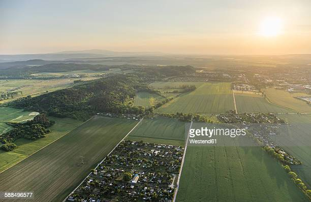 Germany, aerial view of Nothern Harz foreland with Harz low mountain range in the background