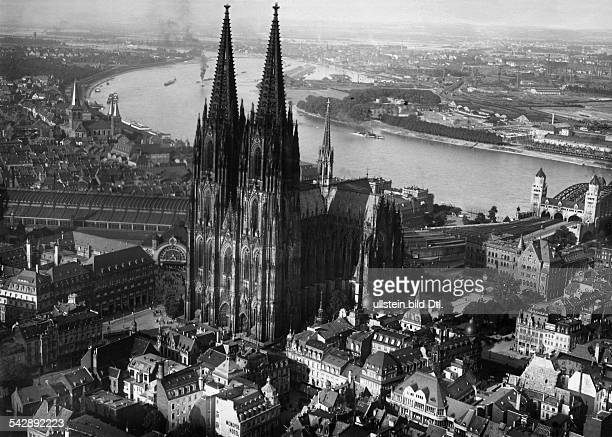 Germany aerial view of the Cologne Cathedral from South West in the background the Rhine river published in Zeitbilder 47/1926 picture taken from a...