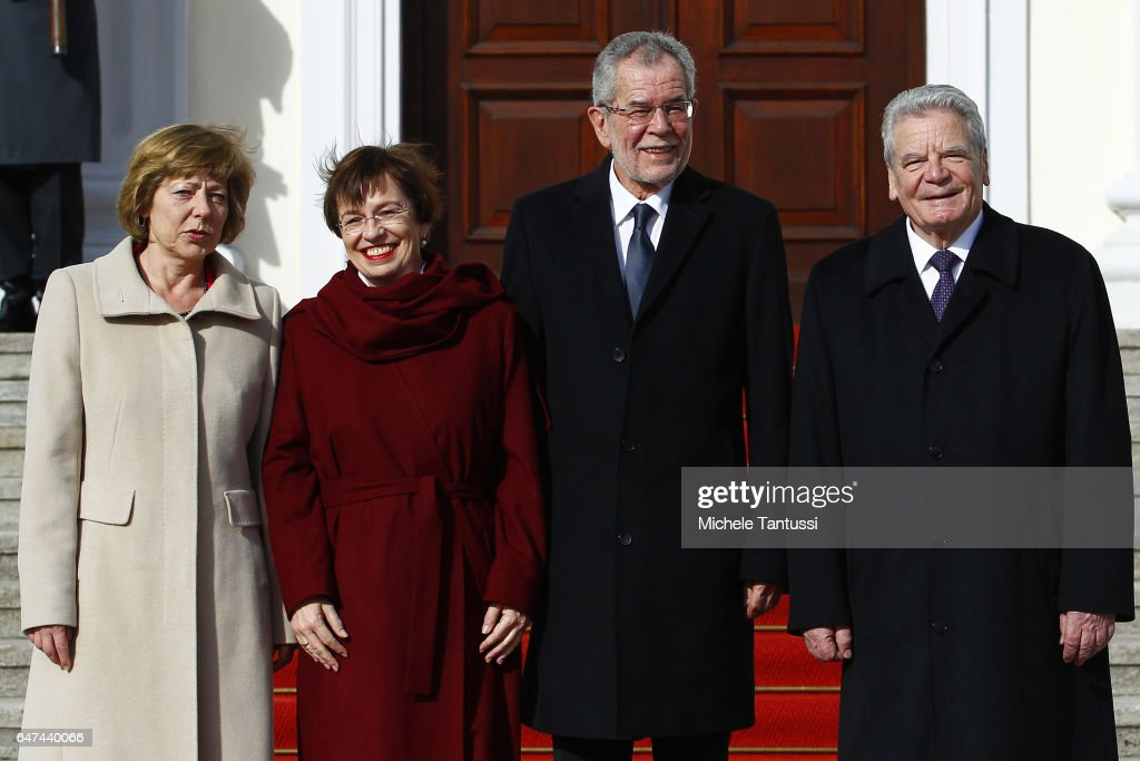 Germany and Austrian first ladies Daniela Schadt, Doris Schmidauer, pose with Austrian and Germany state President Alexander Van der Bellen, Joachim Gauck ahead of the Military honor ceremony in the Bellevue castle on March 3, 2017 in Berlin, Germany. During a joint statement with the german president Van der Bellen underlined the meaning of a united European Union and a strong partnership with Germany defined as the most important Austrian economy partner. .