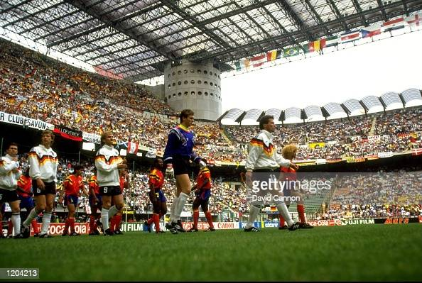 Germany and Columbia walk out during the World Cup in 1990 played at the San Siro Stadium in Milan Italy Mandatory Credit David Cannon /Allsport