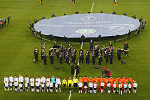 Germany and the Netherlands come together prior to the International Friendly match between Germany and Netherlands at Imtech Arena on November 15...