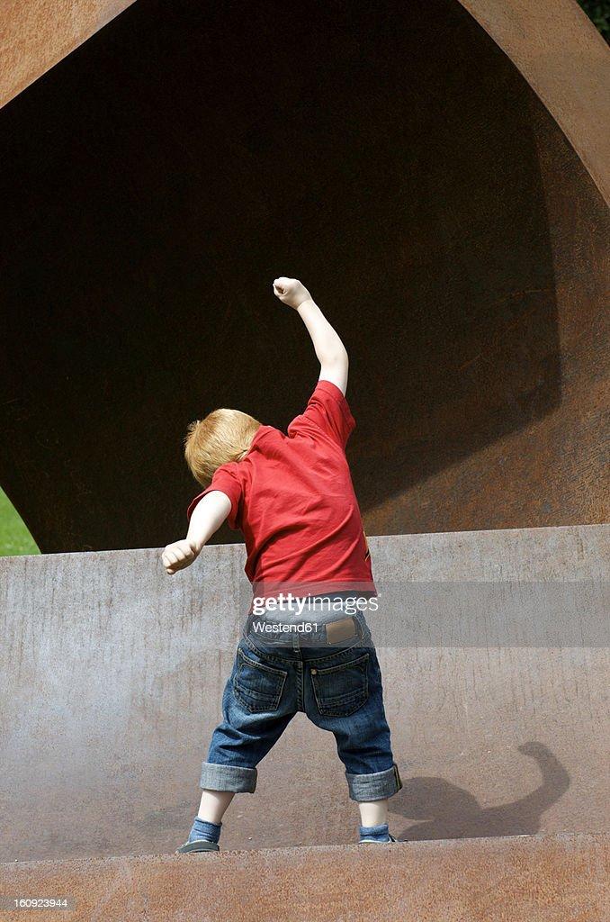 Germany, Baden Wuerttemberg, Constance, Boy dancing : Stock Photo