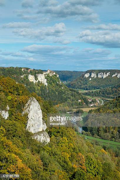 Germany, Baden Wuerttemberg, Sigmaringen, View from Eichfelsen of Upper Danube Valley
