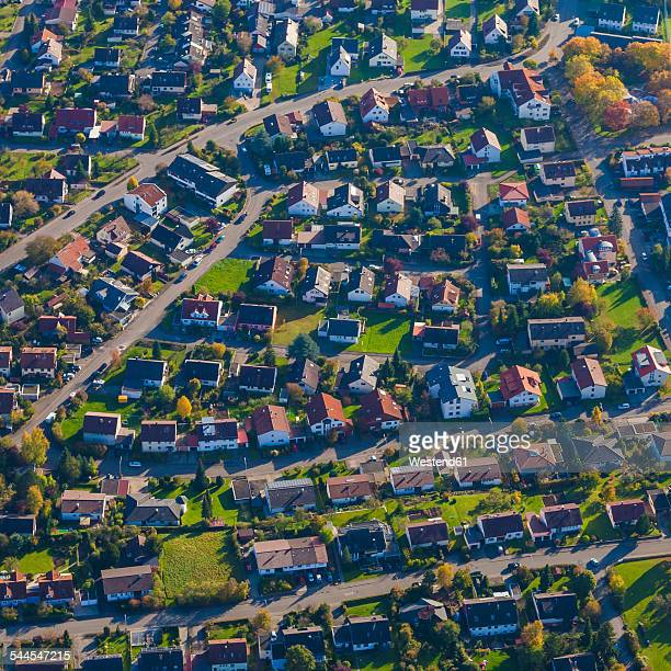 Germany, Baden-Wuerttemberg, aerial view of a village in the Swabian mountains