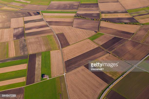 Germany, Baden-Wuerttemberg, aerial view of fields in the Swabian mountains