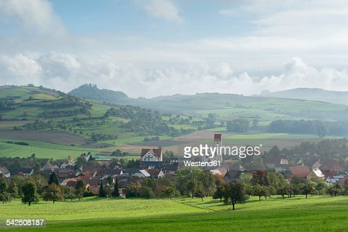 Germany, Baden-Wuerttemberg, Constance district, View to Weiterdingen, Hegau landscpae with Maegdeberg and Hohenkraehen right
