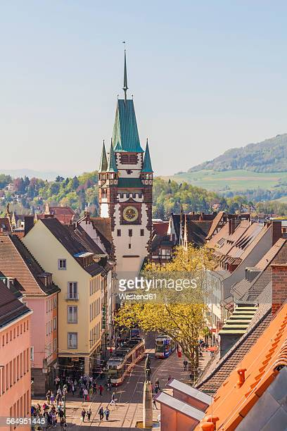 Germany, Baden-Wuerttemberg, Freiburg, Old town, View to Martins Gate and pedestrian area
