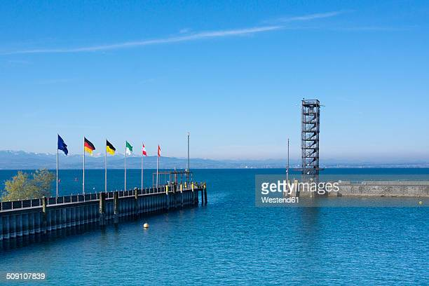 Germany, Baden-Wuerttemberg, Friedrichshafen, viewing tower at port entrance