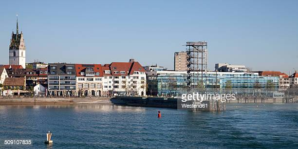 Germany, Baden-Wuerttemberg, Friedrichshafen, viewing tower in front of city panorama