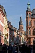 Germany, Baden-Wuerttemberg, Heidelberg, Hauptstrasse, Crowd walking on street