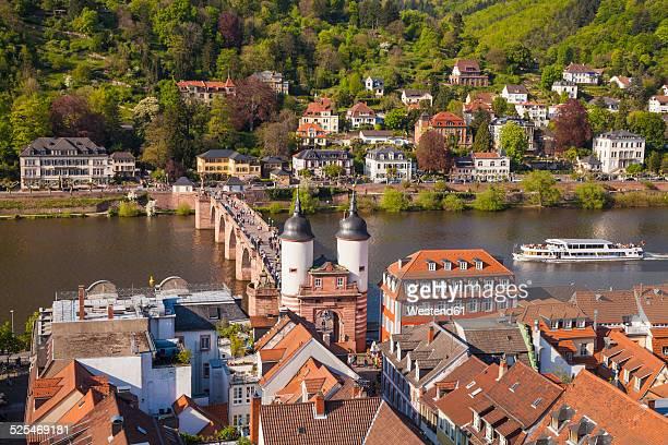 Germany, Baden-Wuerttemberg, Heidelberg, Old town, Old bridge with Bridge gate, Excursion boat on Neckar river