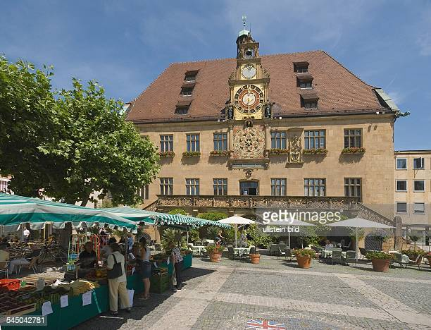 Germany BadenWuerttemberg Heilbronn Market stands in front of the city hall