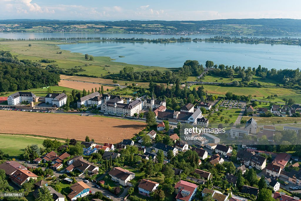 Germany, Baden-Wuerttemberg, Lake Constance, aerial view of Hegne with abbey