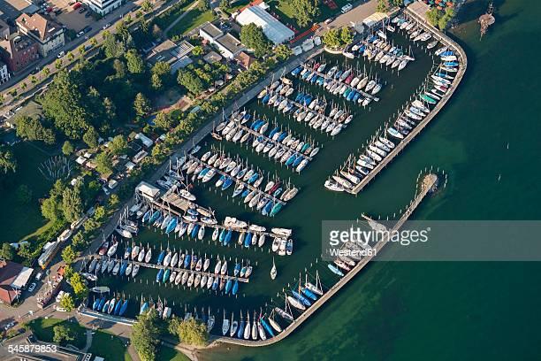 Germany, Baden-Wuerttemberg, Lake Constance, Friedrichshafen, aerial view of marina
