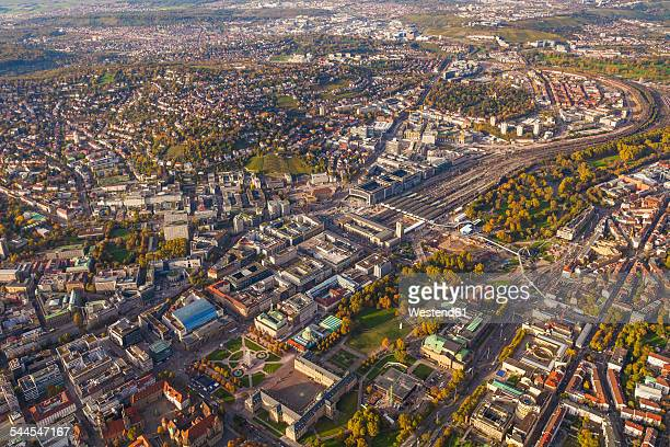 Germany, Baden-Wuerttemberg, Stuttgart, aerial view of city center