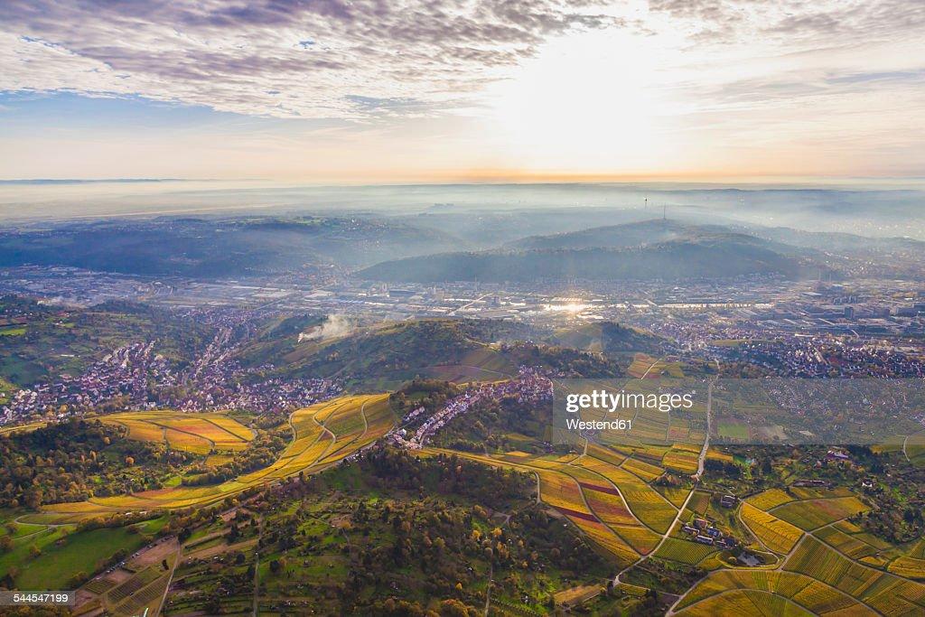 Germany, Baden-Wuerttemberg, Stuttgart, aerial view of Neckar Valley with vineyards