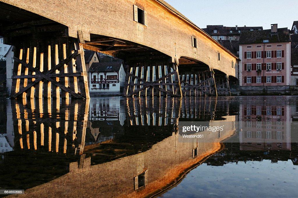 Germany, Baden-Wurttemberg, Historic wood bridge between Gailingen and Diessenhofen in Switzerland