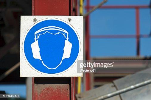 Germany, Baden-Wurttemberg, incinerator TREA Breisgau, Sign with ear protectors