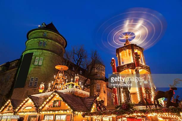 Germany, Baden-Wurttemberg, Stuttgart, Christmas market at night