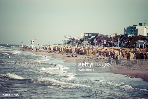 Germany, Baltic Sea, Dahme, beach chairs on beach