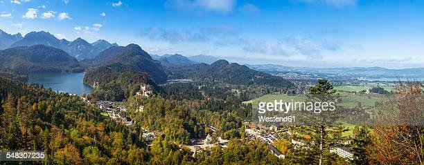 Germany, Bavaria, Allgaeu, Hohenschwangau Castle and Lakes Alpsee, Schwansee and Forggensee