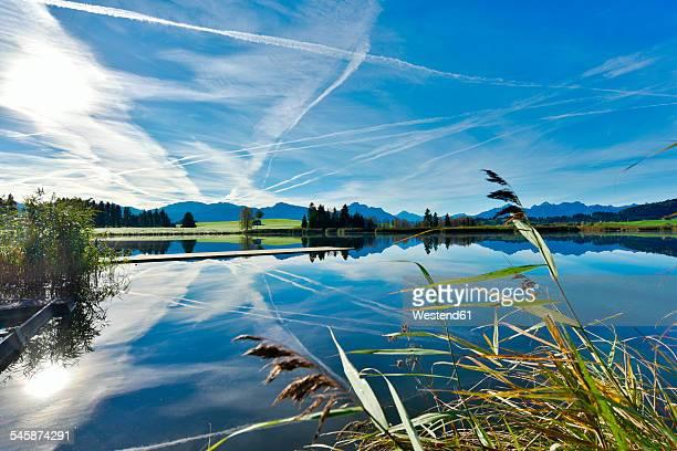 Germany, Bavaria, Allgaeu, landscape with lake at Fuessen