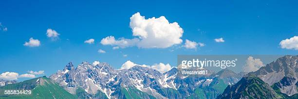Germany, Bavaria, Allgaeu, View to Allgaeu Alps, Panorama of central main ridge
