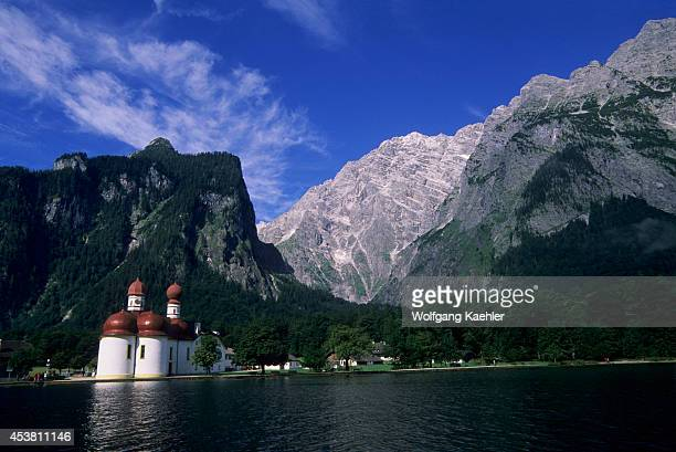 Germany Bavaria Berchtesgaden Konigsee St Bartholoma With Watzmann East Face