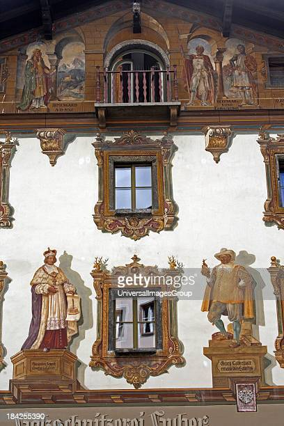 Germany Bavaria Berchtesgaden land Bavarian architecture painted facade wood carvers building Trompe l'Oeil