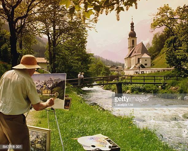 Germany, Bavaria, Berchtesgadener Land, Ramsau,artist painting church