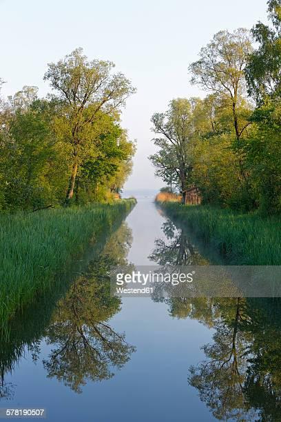 Germany, Bavaria, Chiemgau, morning mood at Lake Chiemsee with Tiroler Ache estuary