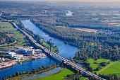 Germany, Bavaria, Deggendorf, Danube river, Isar river mouth, aerial view