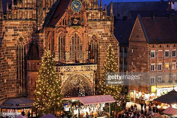 Germany, Bavaria, Franconia, Frauenkirche, Nuremberg, View of Christkindlmarkt