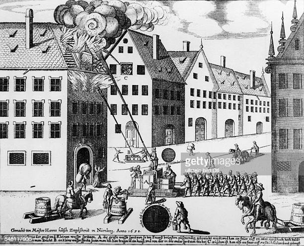 Germany Bavaria Franconia Nuremberg Firefightening Etching by Master Hanns 1658