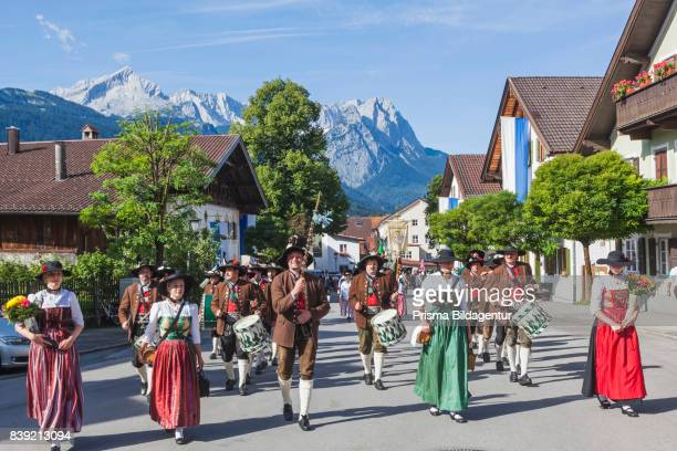 Germany Bavaria GarmischPartenkirchen Bavarian Festival Marching Band in Traditional Costume