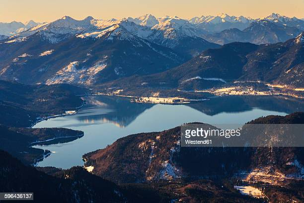 Germany, Bavaria, Lake Walchensee and Wetterstein mountains
