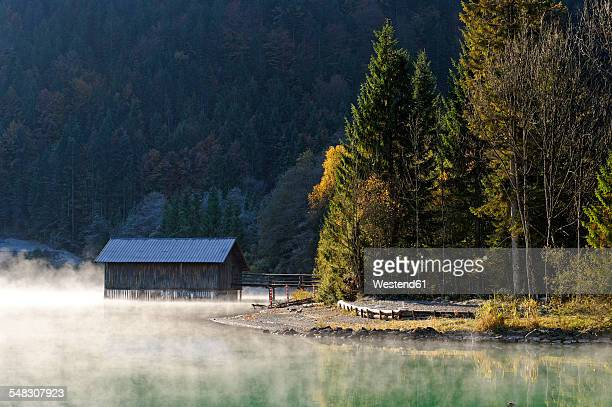 Germany, Bavaria, Lake Walchensee near Obernachkanal in the morning