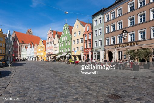 Germany, Bavaria, Landshut, old town, historic  buildings at pedestrian area